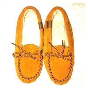Kids yellow moccasins